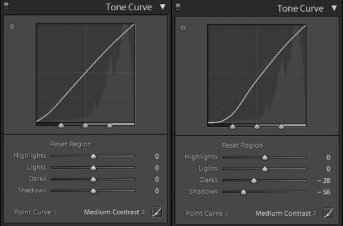 Ajustes en la curva de tonalidad